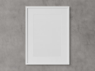 White rectangular vertical frame hanging on a white wall mockup 3D rendering