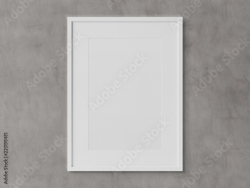 White rectangular vertical frame hanging on a white wall mockup 3D ...