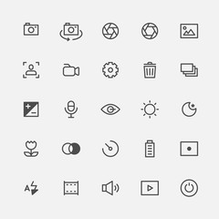 photo symbol line icons. flat design style vector graphic illustration set