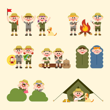 Cute characters doing various activities in camping. flat design style vector graphic illustration set