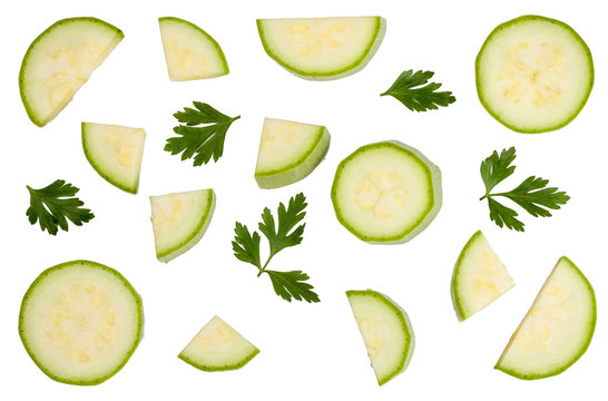 Sliced of zucchini isolated on white, top view.