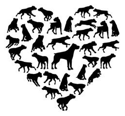 Rottweiler Dog Heart Silhouette Concept