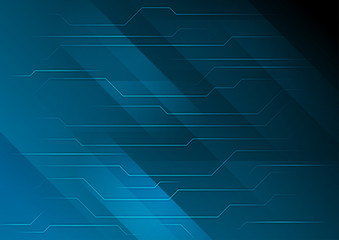 Dark blue abstract technology circuit board background