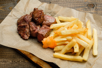 French fries and meat