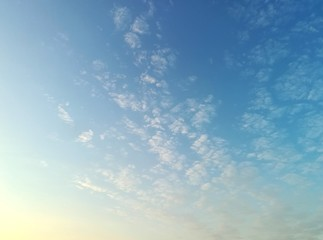 Blue sky and white clouds in morning sky.