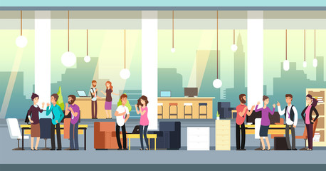 People in coworking office. Creative coworkers in casual wear in open space interior. Vector illustration