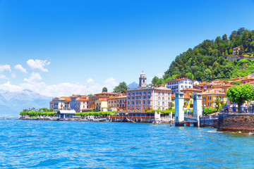 Wall Mural - Unsurpassed Landscape Photography of lovely romantic town Bellagio in Province of Como, Italy. Day scene. Lake Como is favorite place of luxury recreation, place of famous villas, restaurants etc.