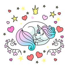 Sleeping little unicorn vector illustration for web