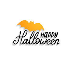 Happy Halloween, hand lettering with bat vector illustration for party invitation card,poster.All Saints Eve background.