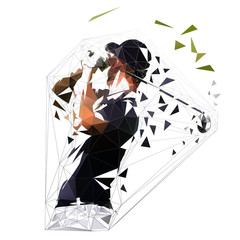Polygonal golf player, low poly isolated vector illustration. Abstract geometric golfer