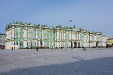 Winter Palace (Hermitage museum) in center of Saint Petersburg, Russia