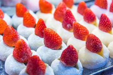 Matcha with fresh Strawberry Daifuku.Azuki Red Bean Strawberry Daifuku.Tokyo sweet Hokkaido Snow Strawberry Daifuku