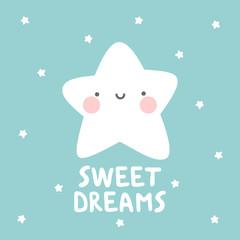 star with sweet dream text. White handmade phrase on the dark blue background. vector handdrawn lettering banner design.
