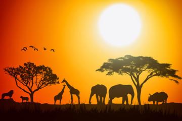 African landscape scene of safari animal savannah silhouette.