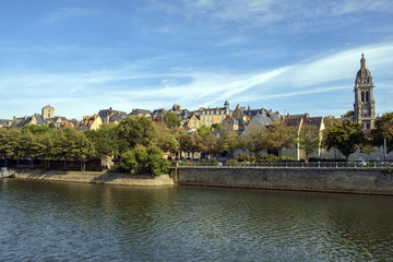 Buildings of old town Le Mans line the River Sarthe in afternoon sun, Le Mans, Sarthe, Loire Valley, France