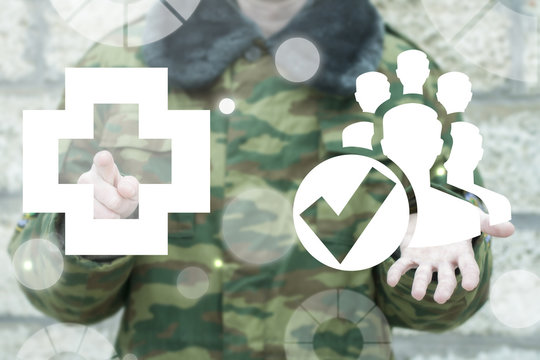 Soldier offers people with check mark and clicks a medical cross icon on a virtual interface. Healthcare humans protection. Life and health people safety military concept.