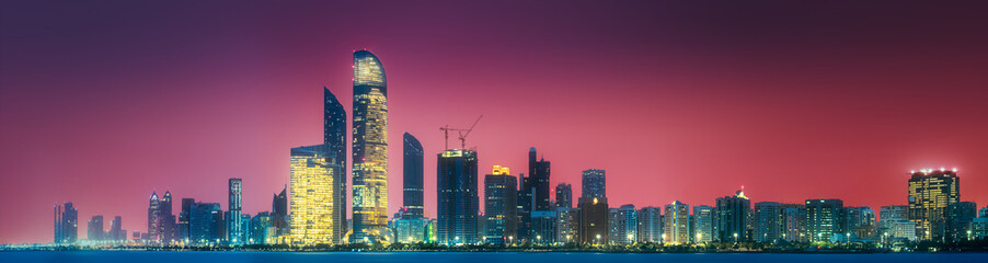 Panorama view of Abu Dhabi Skyline at sunset, UAE