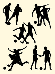 Soccer player silhouette 06. Good use for symbol, logo, web icon, mascot, sign, or any design you want.
