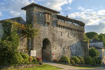 Picturesque Porte de Ferracap gate to the medieval town of Penne d'Agenaise on a hill above the River Lot, Lot-et-Garonne, France.