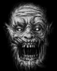 Scary zombie face on black background.