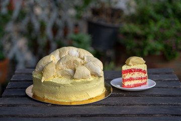 Durian cake and fresh yellow durian, Homemade Bakery in thailand, using as a background or wallpaper