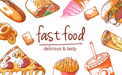 Fast food background vector illustration on white background