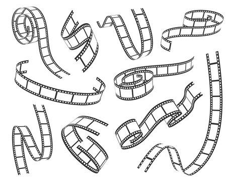 Film strip set vector illustration on white background