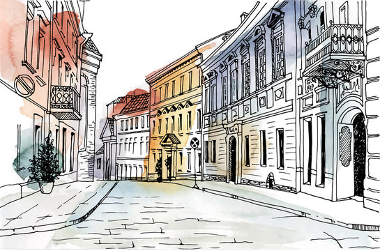 Old city street in hand drawn line sketch style. Urban romantic landscape. Vilnius.Lithuania.  Black and white illustration on colorful watercolor background.