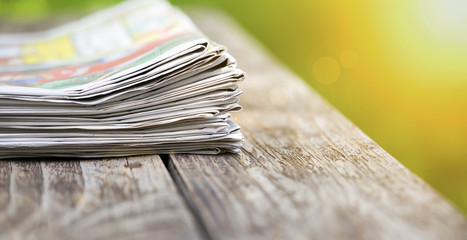 Newspapers, morning news concept - web banner with blank, copy space