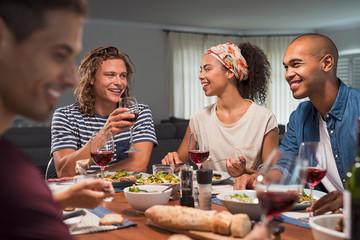 Group of friends enjoying dinner