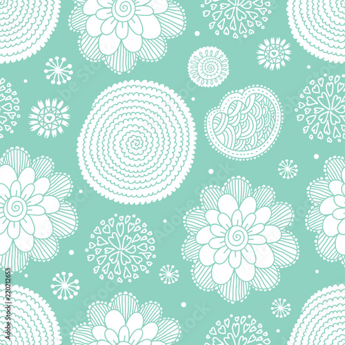 Flowers Cute Mint Motif Vector Seamless Pattern Can Be Used For Wallpaper