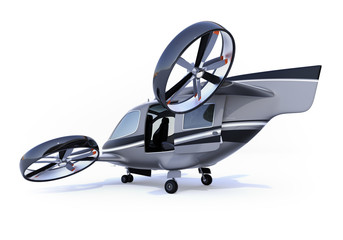 Rear view of Passenger Drone isolated on white background. 3D rendering image.