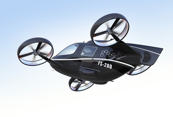 Fototapeta Rear view of self driving Passenger Drone flying in the sky. 3D rendering image.