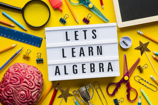 Lets learn algebra lightbox message on a bright yellow background