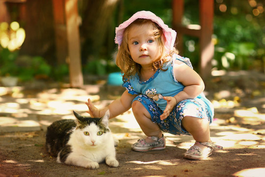 little toddler girl stroke cat close up photo on summer outdoor background