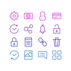 Vector illustration of 16 app icons line style. Editable set of trash can, padlock, credit card and other icon elements.