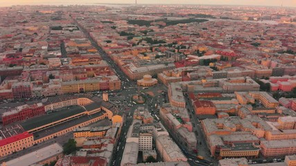 Fotobehang - Aerial panorama view of  historic central district of city of Saint Petersburg, Russia. 4K UHD.