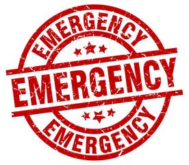 emergency round red grunge stamp
