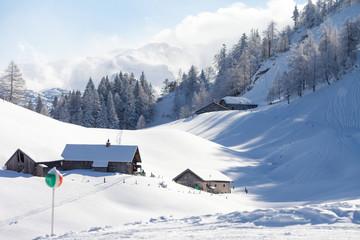 Scenery winter snowy landscape in Austrian Apls in ski areal