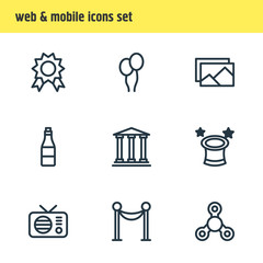 Vector illustration of 9 leisure icons line style. Editable set of award, wizard, image and other icon elements.