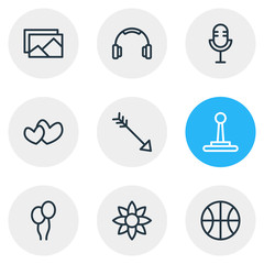 Vector illustration of 9 leisure icons line style. Editable set of microphone, flower, balloon and other icon elements.