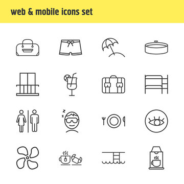 Vector illustration of 16 travel icons line style. Editable set of balcony, men swimwear, coffee machine and other icon elements.