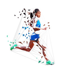 Running woman polygonal vector isolated illustration. Low poly geometric marathon runner
