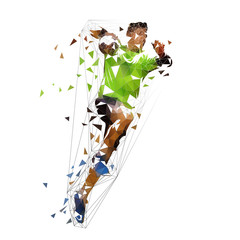 Handball player shooting ball, abstract polygonal vector illustration. Isolated low poly drawing