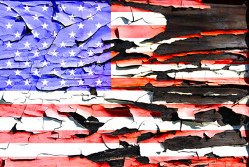 American flag on a burnt wooden board
