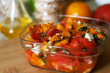 Summer tasty vegetables cheese salad