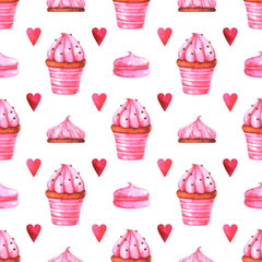 Hand painted seamless pattern with watercolor muffin, cake, marshmallow and red heart isolated on white background