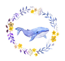 Whale in floral wreath. Watercolor