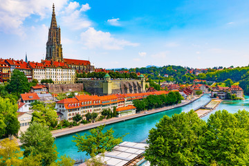 Summer panorama of Bern, Switzerland Wall mural