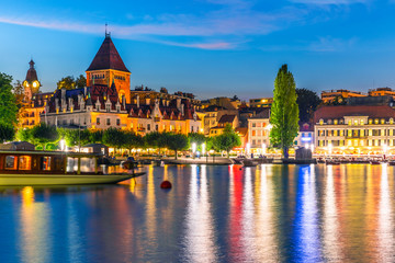 Night view of Lausanne, Switzerland
